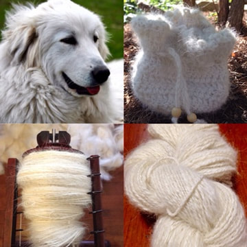 yarn made from great pyrenees dog hair